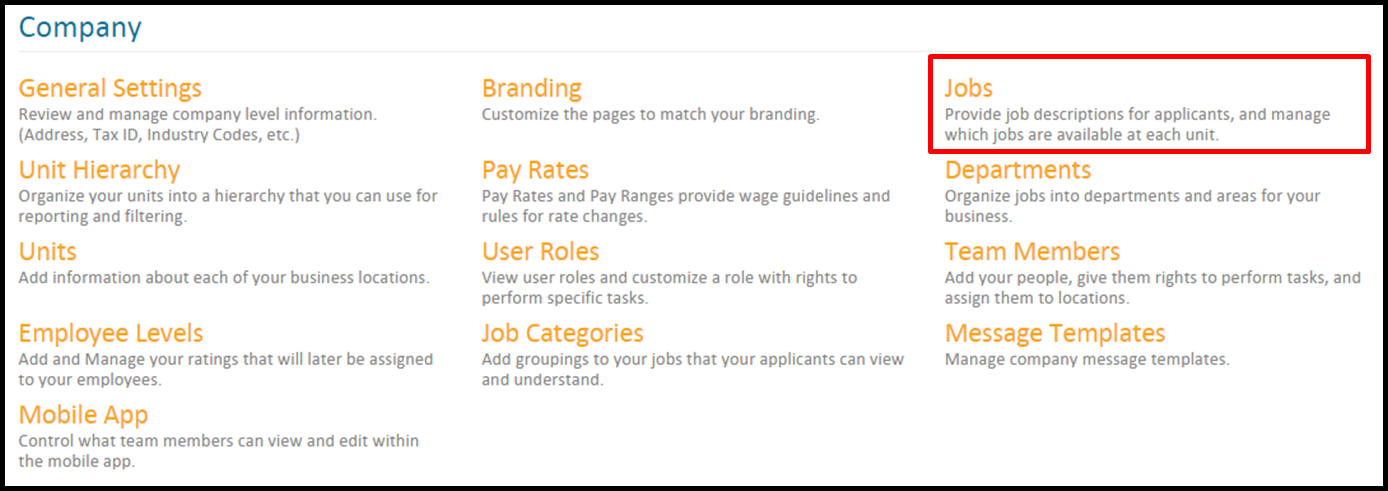 to access jobs follow this path settings select your organization company settingsjobs