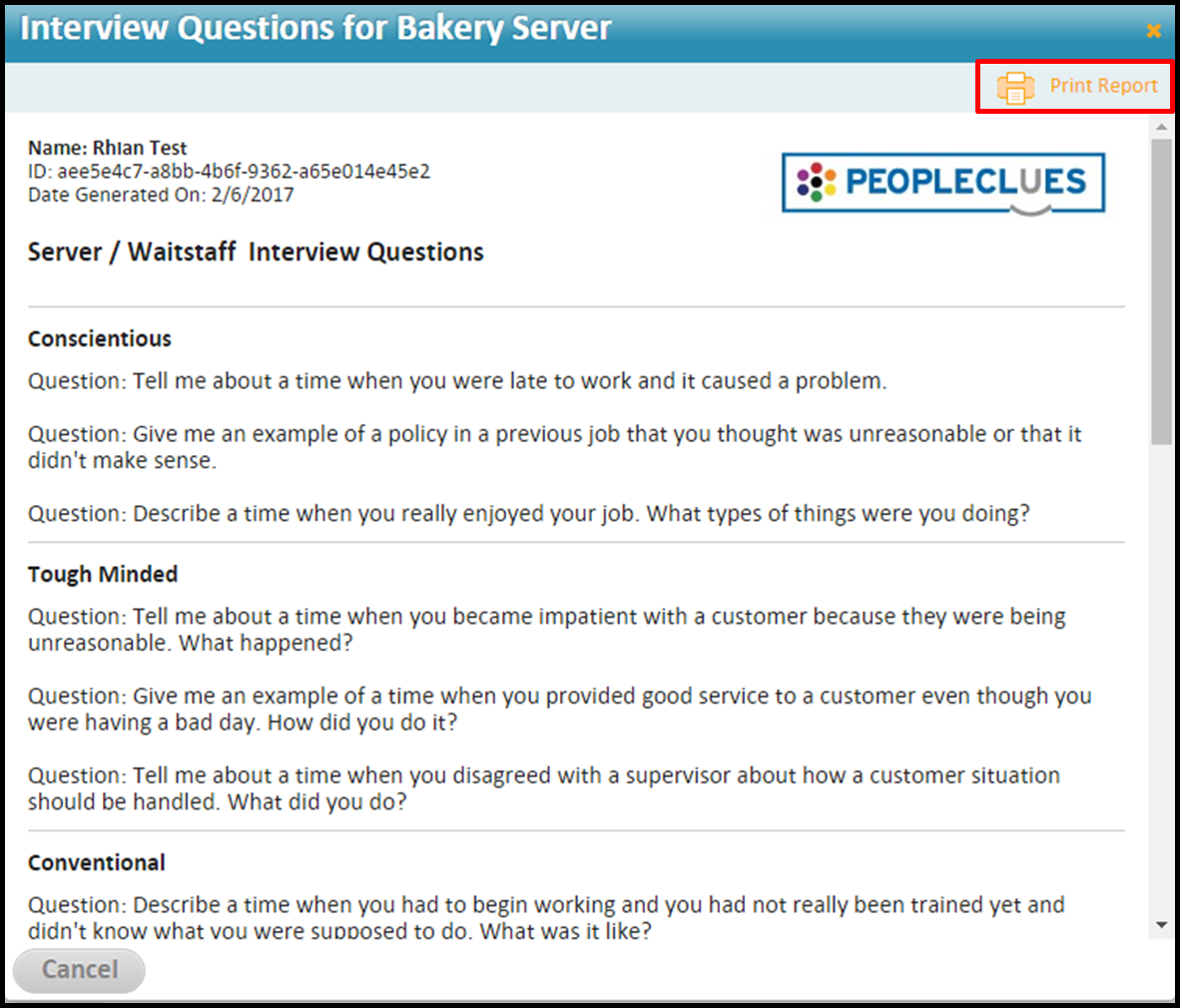 manager workflow how do i print interview questions based on the interview questions will appear click print report